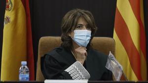 Dolores Delgado, en el acto de toma de posesión de los nuevos fiscales jefes de área,