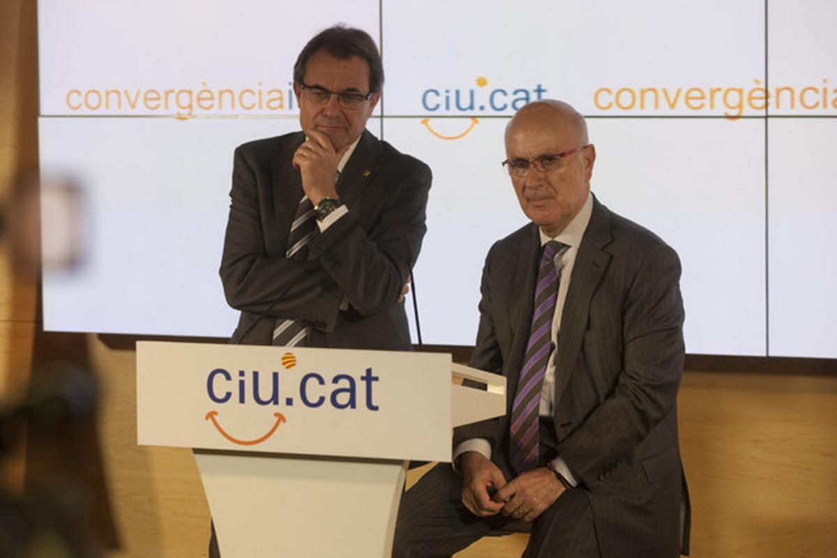 Artur Mas y Josep Antoni Duran Lleida, tras la reunión de la comisión ejecutiva de CiU.
