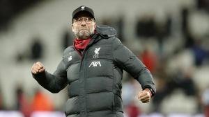 Jürgen Klopp, durante el partido West Ham-Liverpool del 29 de enero del 2020.