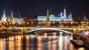 Vista nocturna del Kremlin.