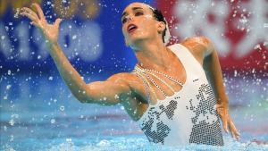 Ona Carbonell, durante elejercicio que le ha valido la clasificación para la final de solo técnico.