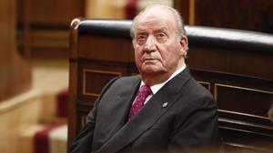 El rey emérito, Juan Carlos I, en el acto conmemorativo del 40º aniversario de la Constitución de 1978en el Congreso, el 6 de diciembre de 2018.