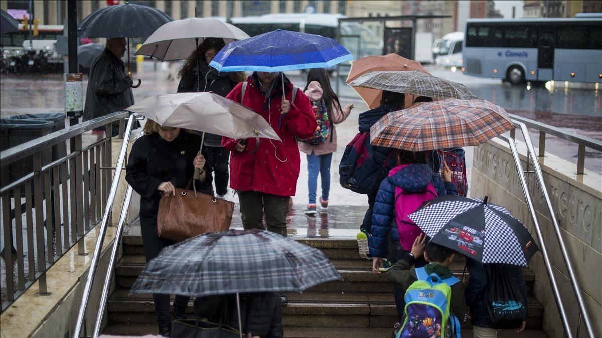 Día de lluvia en Barcelona.