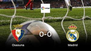 Osasuna y el Real Madrid no encuentran el gol y se reparten los puntos (0-0)