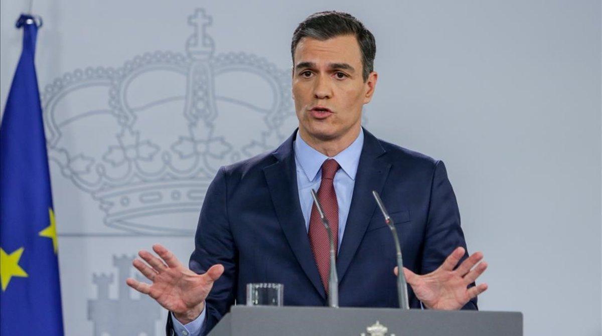 El presidente del Gobierno, Pedro Sánchez, en su comparecencia en La Moncloa el martes pasado.