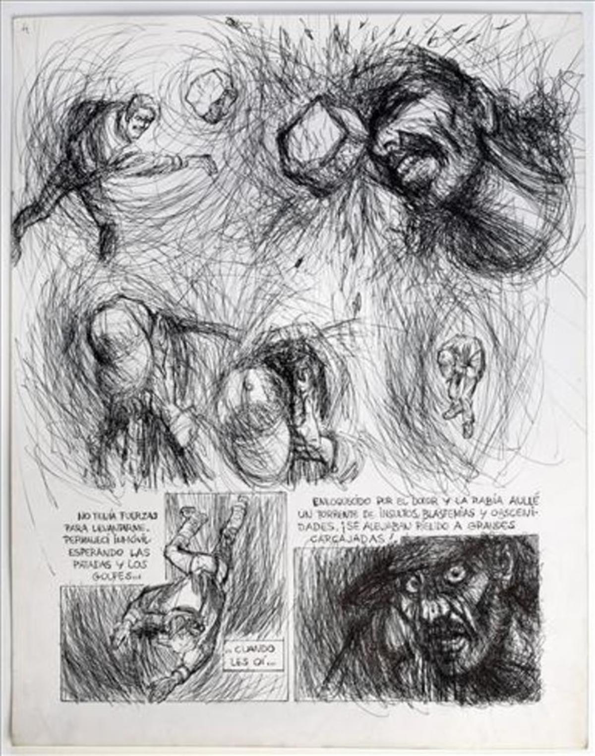 Miguel Fuster dibujó la agresión que sufrió en el Maremàgnum cuando vivía en la calle.