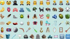 Algunos de los nuevos emojis de Apple disponibles en la versión del software 14.2 para iOS y iPadOS