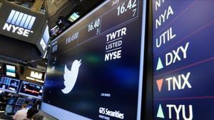 El símbolo de Twitter en la bolsa de Nueva York.