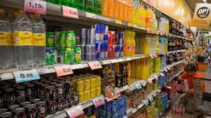 Zona de bebidas no alcohólicas, en un supermercado de Barcelona.