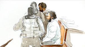 Dibujo de Abdeslam en la sala del tribunal de Bruselas.