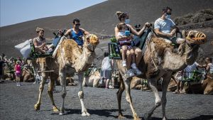 Turistas, protegidos con mascarillas, en camello por el Parque Nacional de Timanfaya, en Lanzarote.