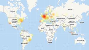 Países en los que se registran fallos de Instagram. En rojo, donde la incidencia es más grave; en amarillo, donde hay ciertos problemas de acceso.