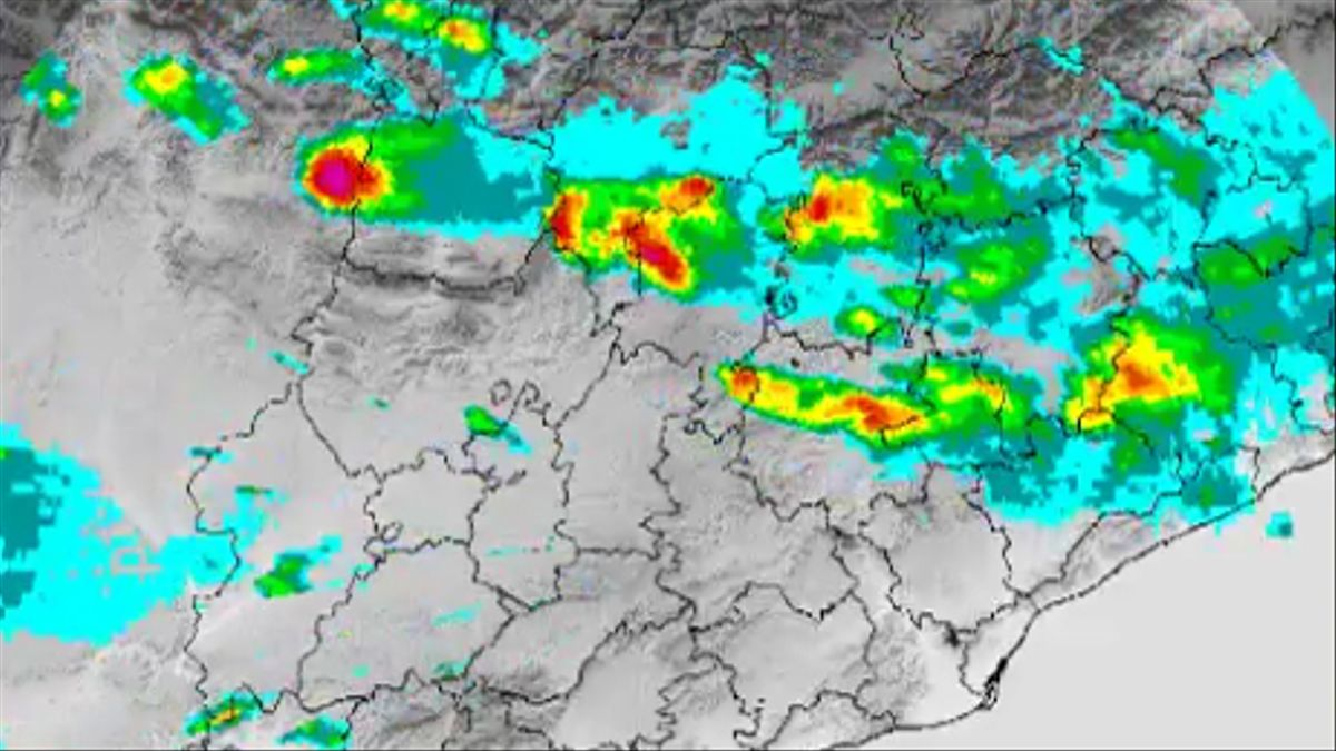 Imagen del radar de Meteocat, con previsión de fuertes lluvias.