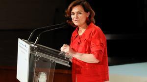 La vicepresidenta primera del Gobierno, Carmen Calvo, asiste a la entrega de los XXXVIII Premios Internacionales de Periodismo Rey de España, este 9 de junio de 2021 en Madrid.