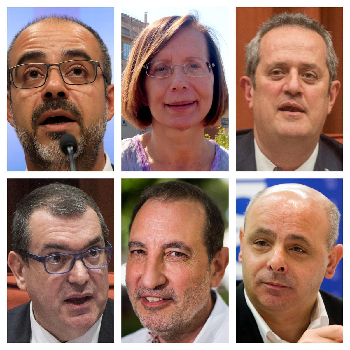 Los 'exconsellers' de Interior Miquel Buch, Montserrat Tura, Joaquim Forn, Jordi Jané y Ramon Espadaler, y el exsecretario general de Interior Joan Boada
