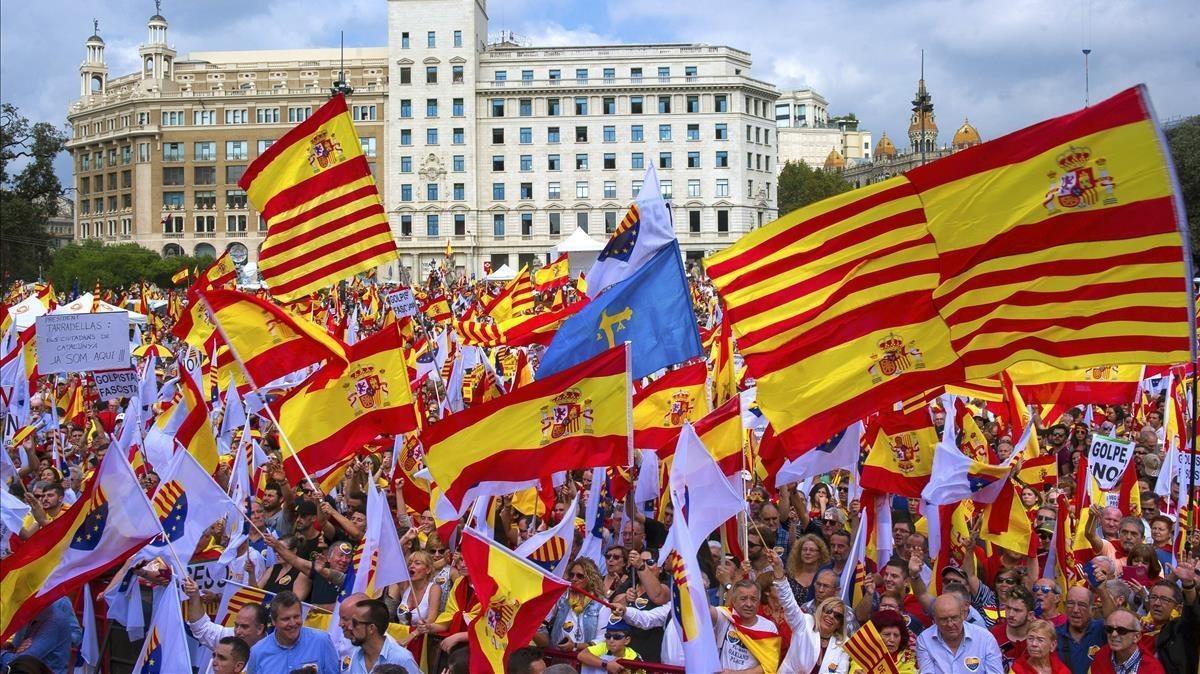 Manifestación en Barcelona el 12 de Octubre.
