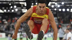 Pablo Torrijos, durante un campeonato de atletismo en Portland.