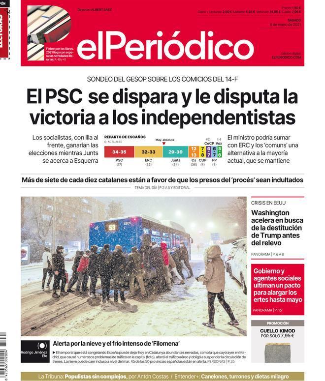 La portada de EL PERIÓDICO del 9 de enero del 2021