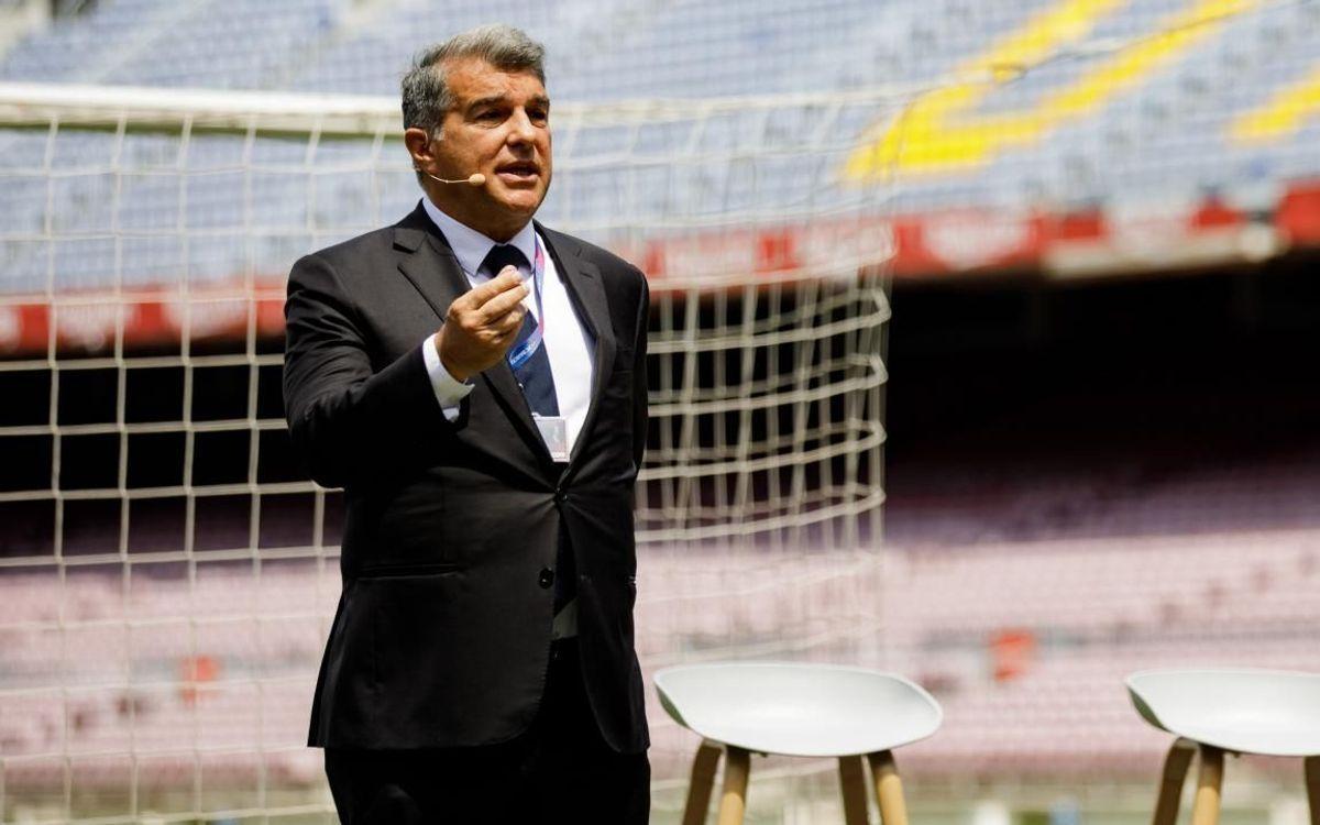 Laporta, en el Camp Nou durante la presentación de la nueva estructura ejecutiva del club.