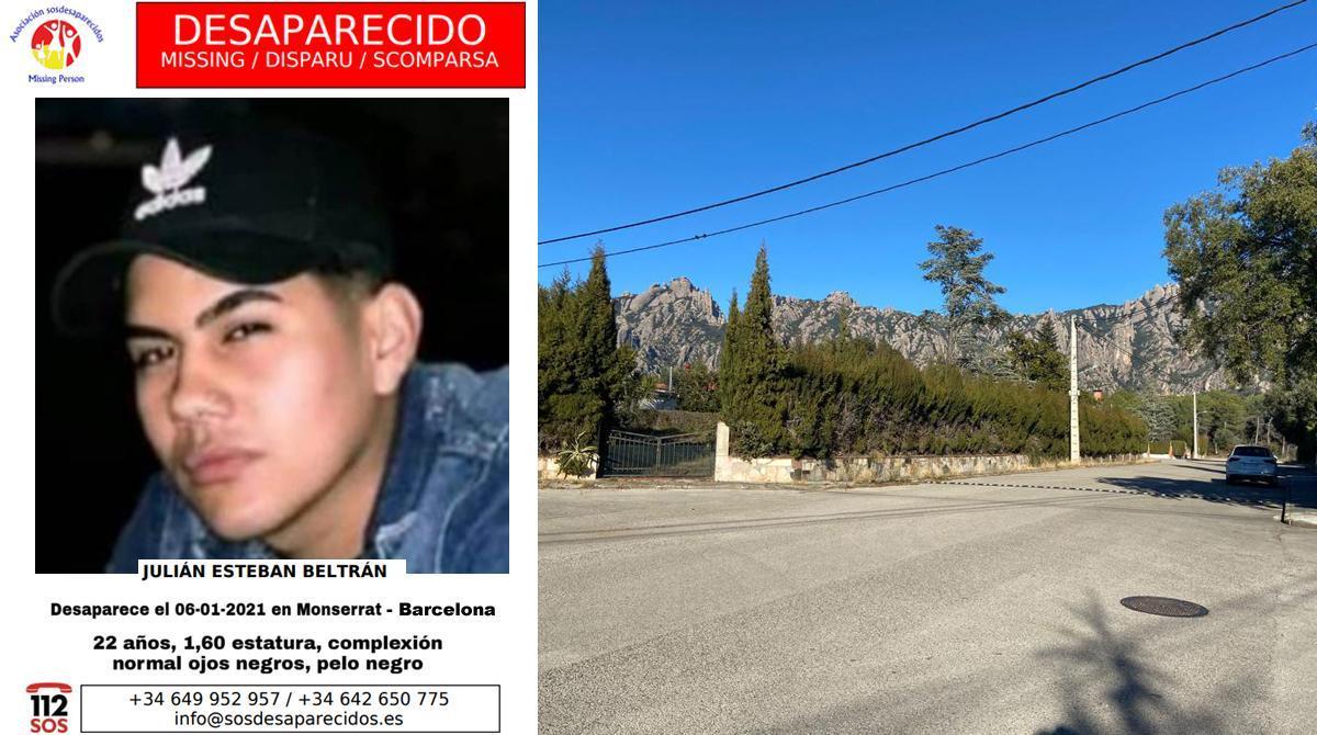 Alerta sobre la desaparición de Julián Beltrán, a la izquierda, y el lugar en el que se le vio por última vez, a la derecha.