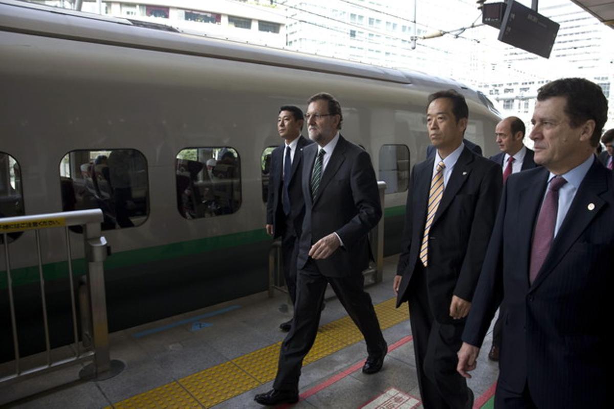 Mariano Rajoy, a su llegada a Fukushima, este jueves.