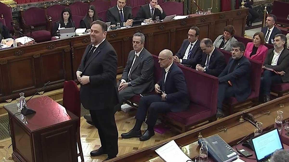 Oriol Junqueras en su declaración en el juicio del 'procés'.
