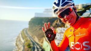 Chris Froome, durante un entrenamiento por Gran Canaria esta semana.