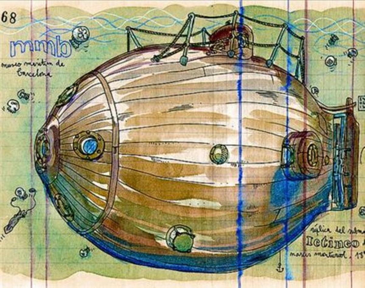 Esbozo 8 Réplica del submarino Ictíneo, de Narcís Monturiol.