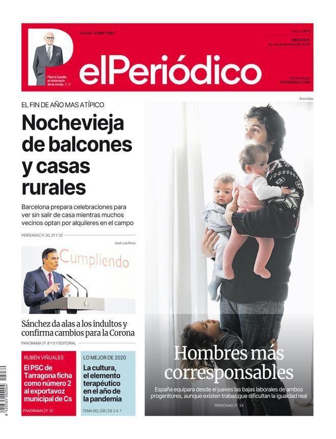 La portada de EL PERIÓDICO del 30 de diciembre del 2020.