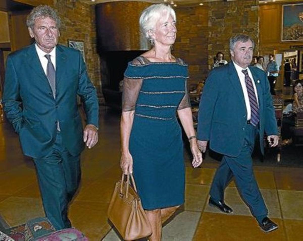 Lagarde, a su llegada al seminario económico de la Reserva Federal de Kansas, el viernes, en Jackson Hole.