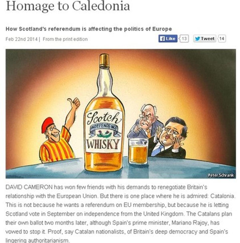Viñeta de 'The Economist' alusiva a los procesos de independencia de Catalunya y Escocia y al papel de la UE.