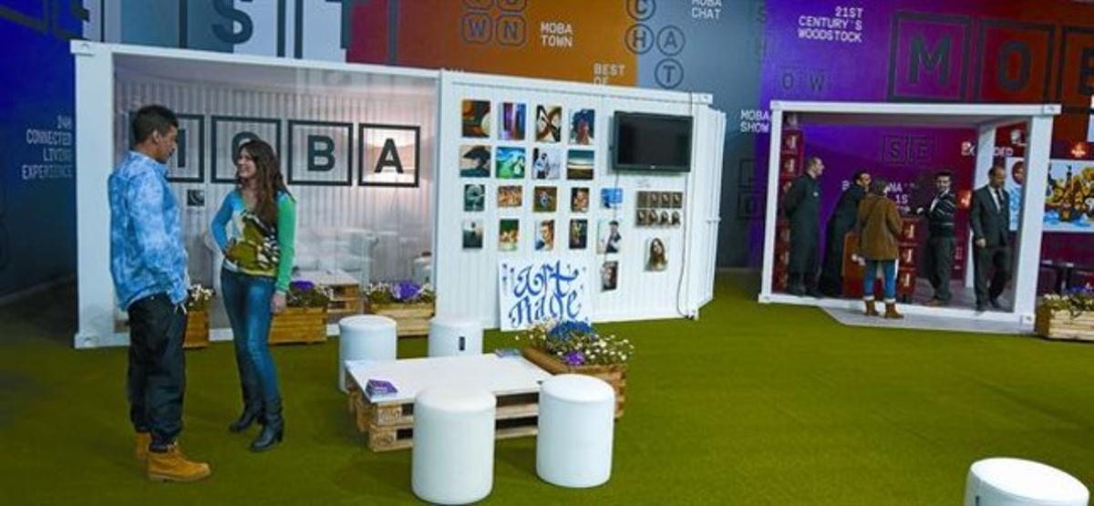 Estand del festival MoBa en el Mobile World Congress de Barcelona, ayer.