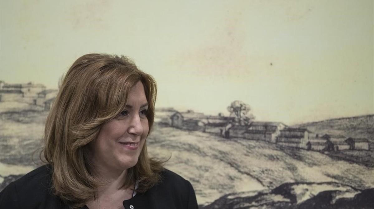 La presidenta de la Junta de Andalucía, Susana Díaz, en un acto oficial en Castilblanco de los Arroyos (Sevilla).