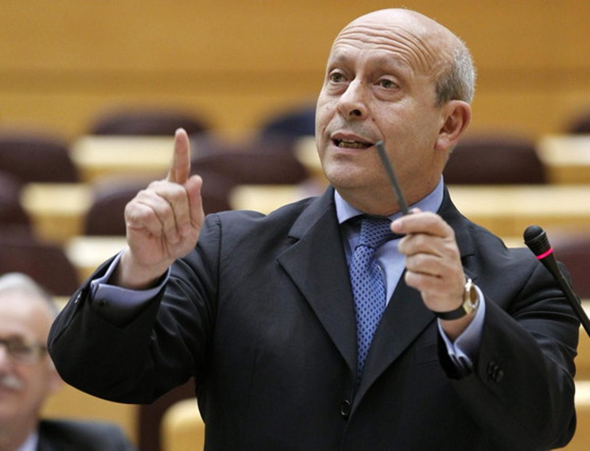 El ministro de Educación, José Ignacio Wert, el pasado día 18 en el Senado.