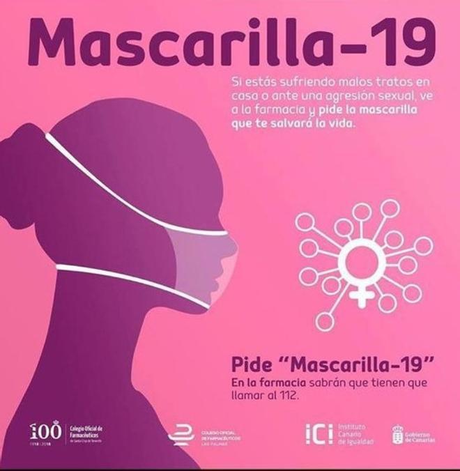 Campaña del Gobierno canario 'Mascarilla 19', para que las víctimas de violencia machista puedan alertar durante el confinamiento por el coronavirus de su situación.