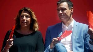La líder del PSOE-A, Susana Díaz y el presidente del Gobierno, Pedro Sánchez, en la campaña de las últimas elecciones municipales, el 22 de mayo de 2019 en Córdoba.