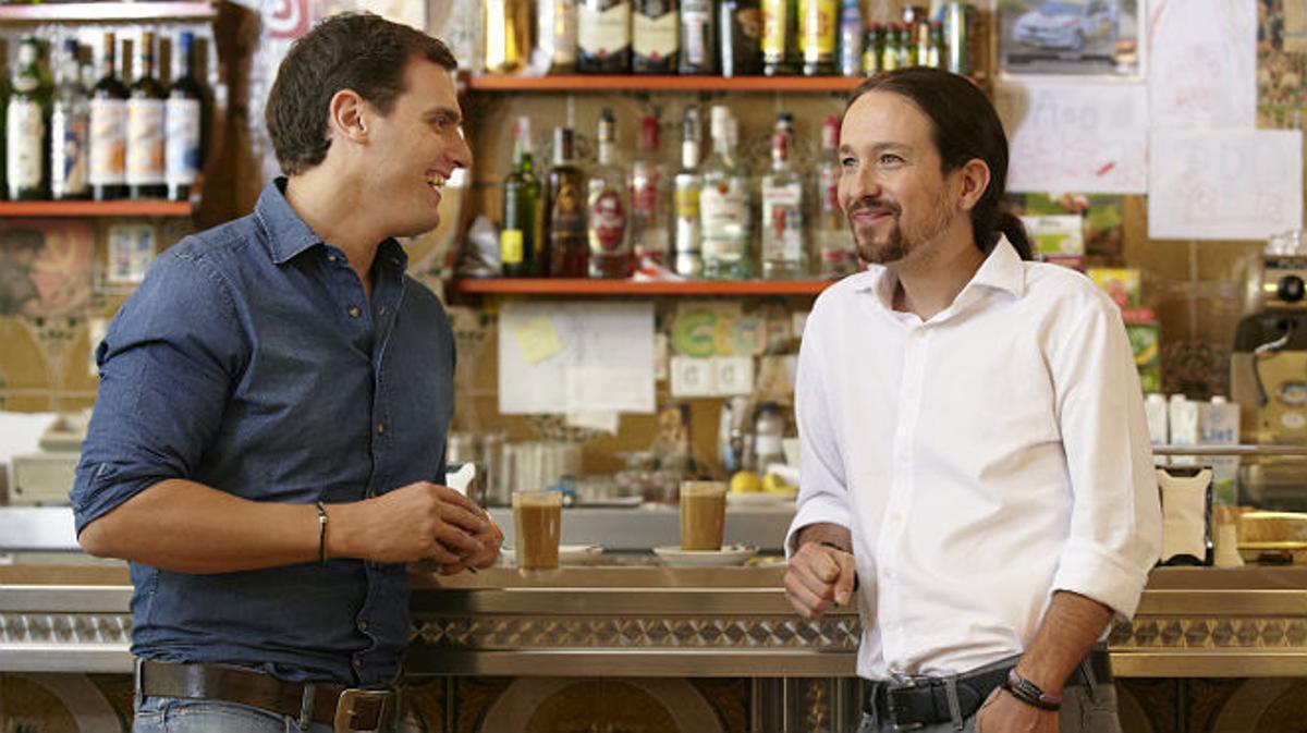 Albert Rivera y Pablo Iglesias, en uno de los momentos del cara a cara