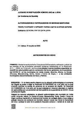 Auto del juez de Lleida