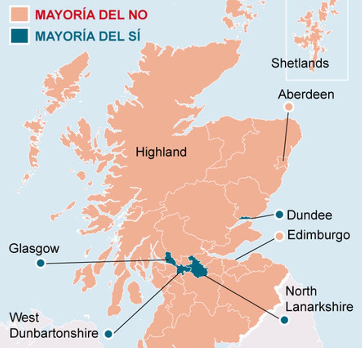 Mapa de los resultados del referéndum de independencia de Escocia