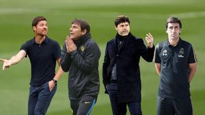 Xabi Alonso (i), Antonio Conte, Pochettino y Raúl González, futuribles para el banquillo del Madrid.