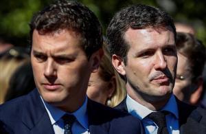 El presidente del PP,Pablo Casado,y el presidente de Ciudadanos,Albert Rivera,durante el acto de recuerdo del 11-M.