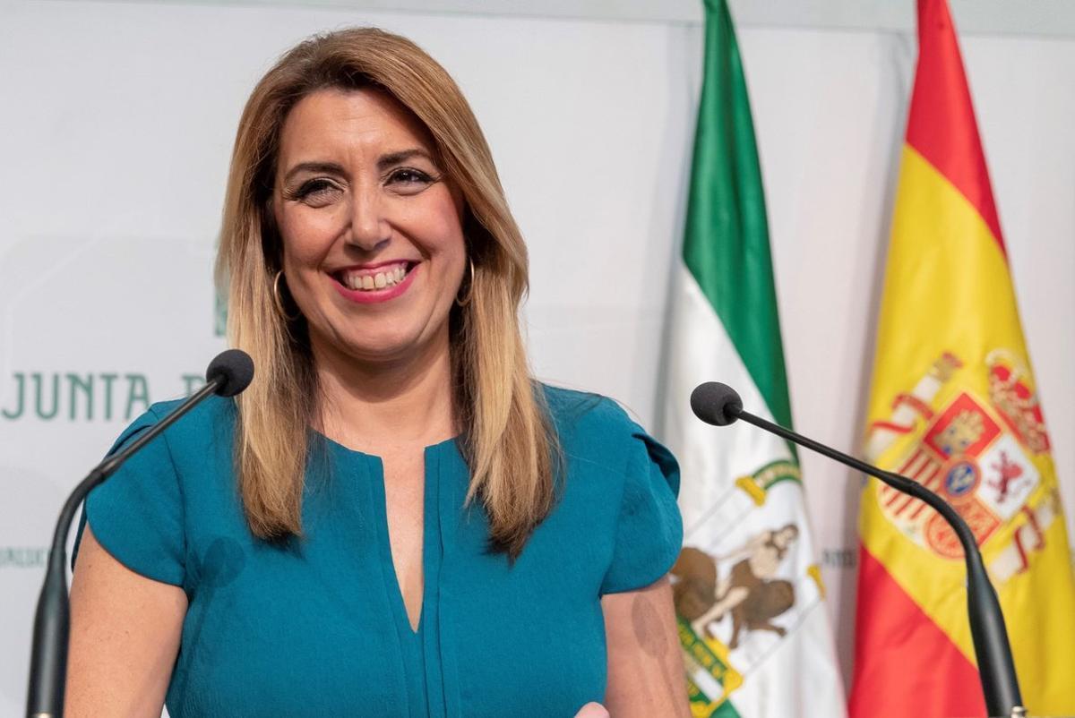 Susana Díaz, durante el anuncio de la convocatoria de las elecciones andaluzas, este lunes en Sevilla.