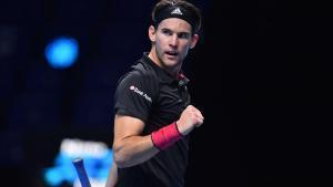 Thiem celebra un punto ante Djokovic, en semifinales del Masters.