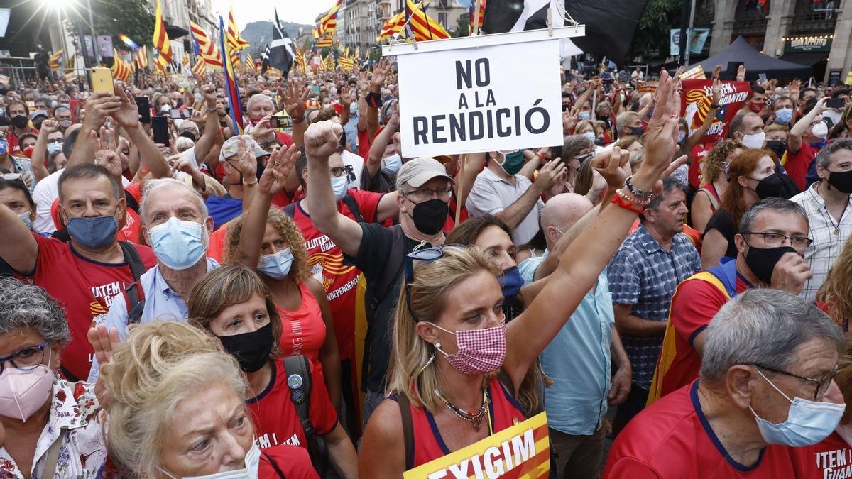 La manifestación de la Diada en Via Laietana.