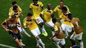 La selección colombiana celebrando un gol en el Mundial de Brasil 2014