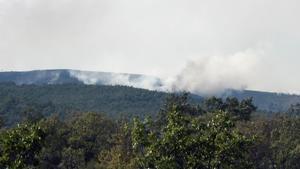 Columna de humo del incendio declarado en la Sierra de Madrid.