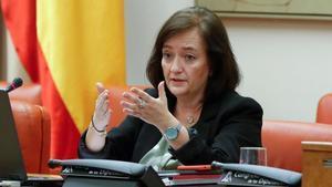 La presidenta de la Airef, Cristina Herrero, en la Comisión de Presupuestos del Congreso de los Diputados.
