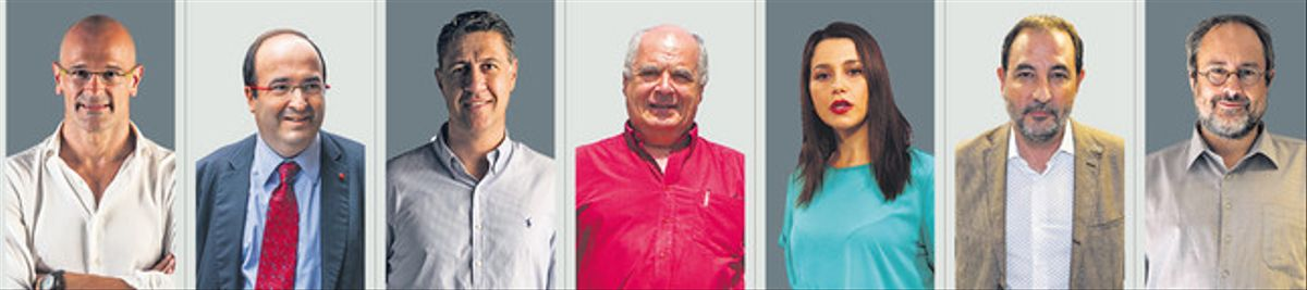 De izquierda a derecha, los candidatos al 27-S Raül Romeva (Junts pel Sí), Miquel Iceta (PSC), Xavier García Albiol (PPC), Lluís Rabell (Sí que es Pot), Inés Arrimadas (Ciutadans), Ramon Espadaler (UDC) y Antonio Baños (CUP).