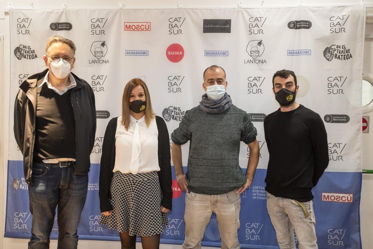 Los autores de las cuatro obras que participan en el concurso.