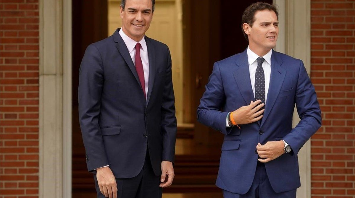Pedro Sánchez y Albert Rivera, el pasado 7 de mayo, en la Moncloa.